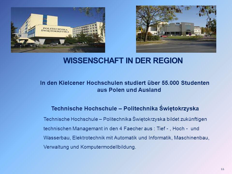 WISSENSCHAFT IN DER REGION In den Kielcener Hochschulen studiert über 55.000 Studenten aus Polen und Ausland Technische Hochschule – Politechnika Świę