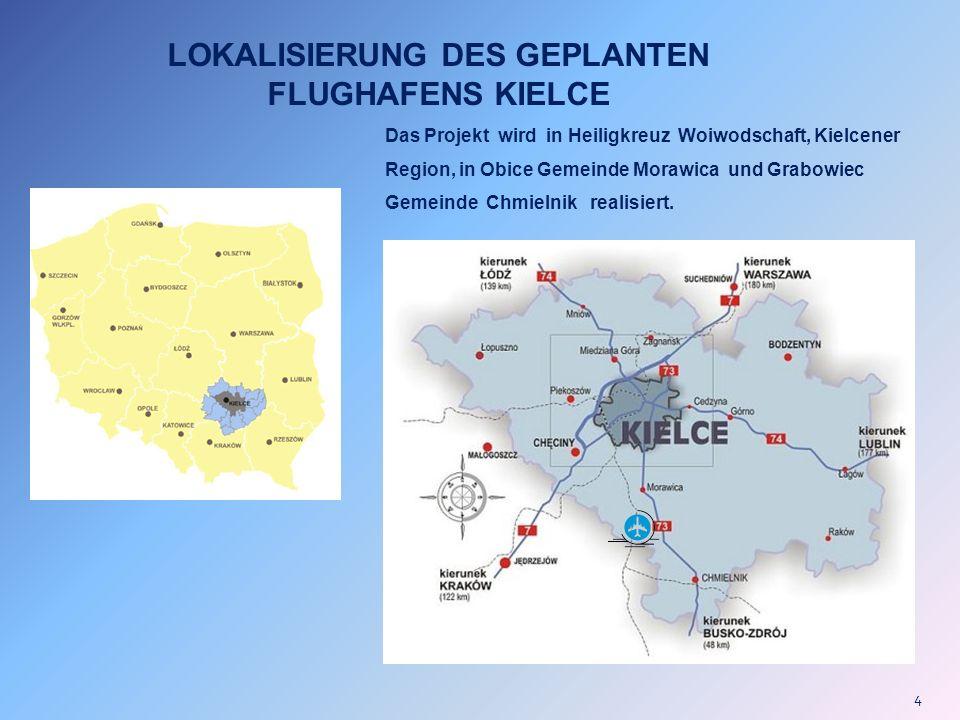 4 LOKALISIERUNG DES GEPLANTEN FLUGHAFENS KIELCE Das Projekt wird in Heiligkreuz Woiwodschaft, Kielcener Region, in Obice Gemeinde Morawica und Grabowi
