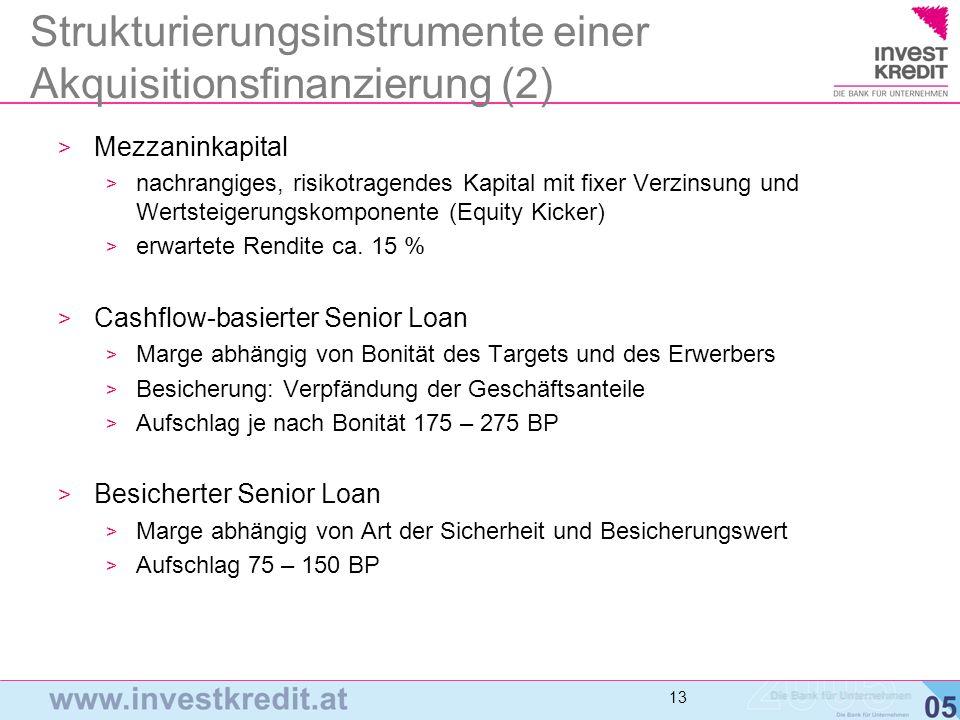 14 Finanzierungsmaßstäbe > EBITDA-Multiple als Standardmaß > Problem: EBITDA ist ein schlechter Indikator für den Free Cash Flow (FCF) > Investkredit Maßstab: Normalized Cash EBIT (NCE) Multiple: NCE = EBITDA – normalisierter CAPEX (= Investitionsaufwand) > Maßstab für Leveragepotential muss sich immer am verfügbaren Free-Cash-flow orientieren > Mulitples als Daumenregel sind jeweils durch detaillierte, integrierte Planungsrechnung aus Plan-Bilanz, Plan-GuV und Plan- CF-Rechnung zu verifizieren!