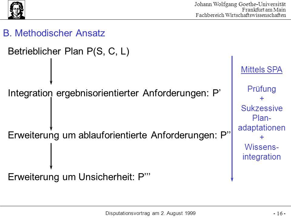 Johann Wolfgang Goethe-Universität Frankfurt am Main Fachbereich Wirtschaftswissenschaften Disputationsvortrag am 2. August 1999 - 16 - B. Methodische