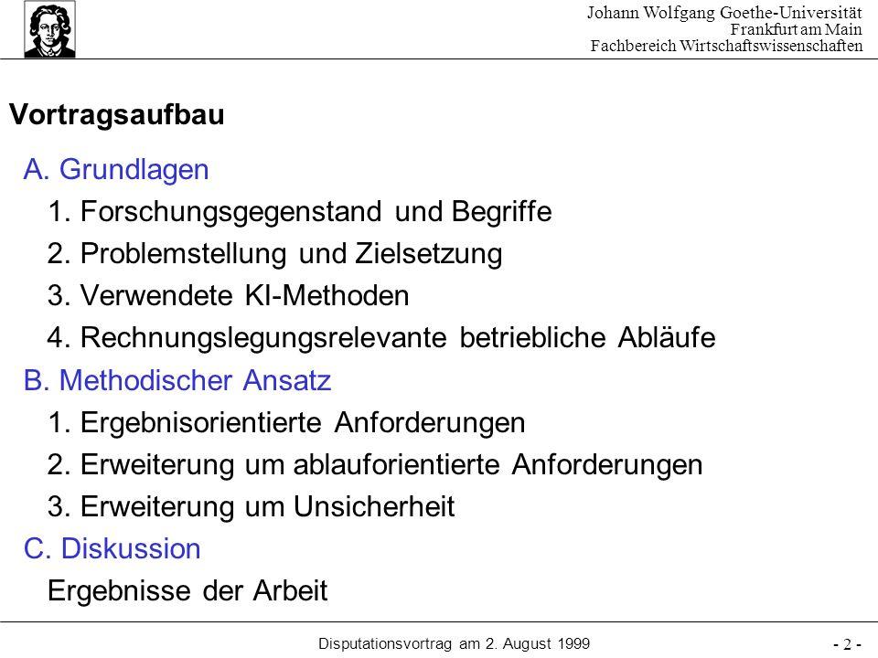 Johann Wolfgang Goethe-Universität Frankfurt am Main Fachbereich Wirtschaftswissenschaften Disputationsvortrag am 2. August 1999 - 2 - Vortragsaufbau