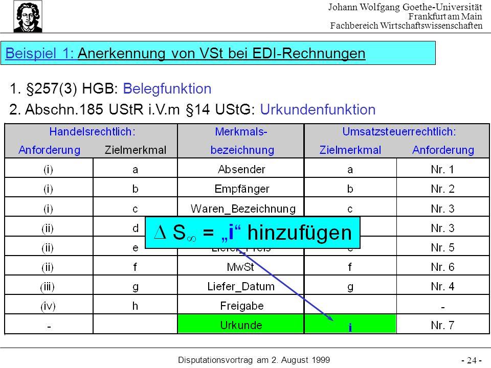 Johann Wolfgang Goethe-Universität Frankfurt am Main Fachbereich Wirtschaftswissenschaften Disputationsvortrag am 2. August 1999 - 24 - 1. §257(3) HGB