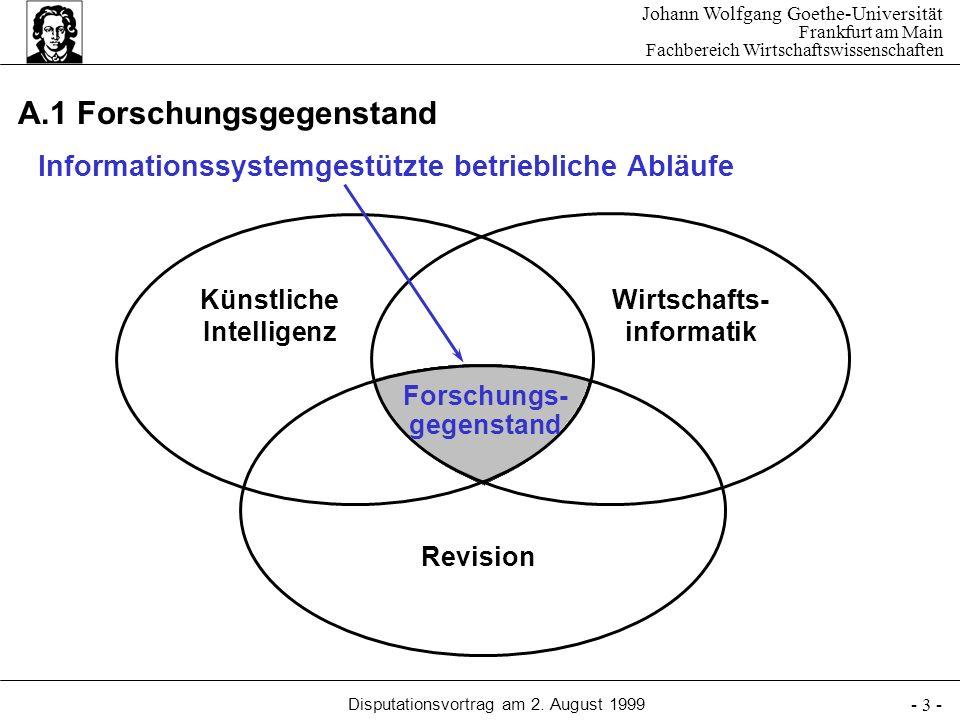 Johann Wolfgang Goethe-Universität Frankfurt am Main Fachbereich Wirtschaftswissenschaften Disputationsvortrag am 2. August 1999 - 3 - A.1 Forschungsg