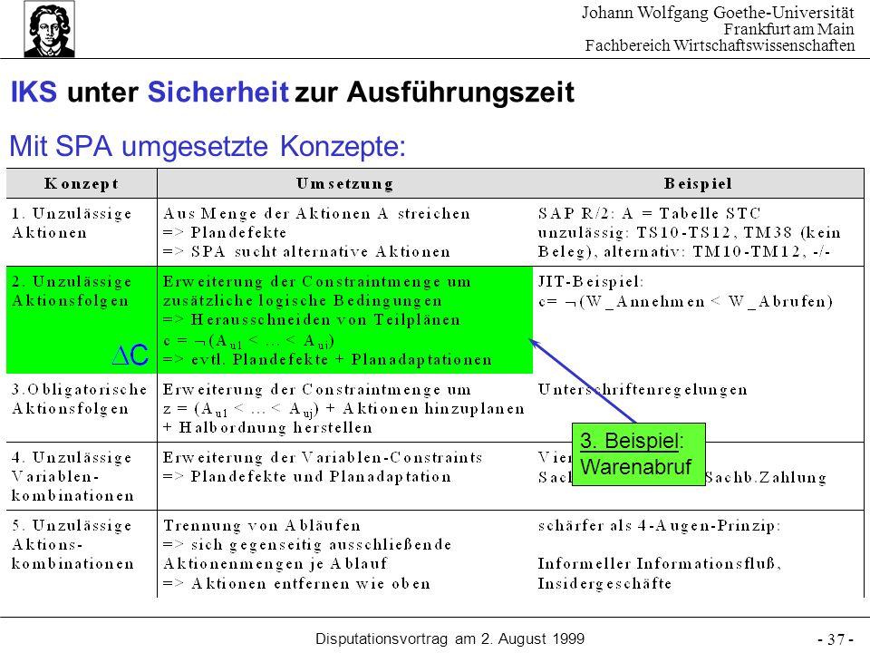 Johann Wolfgang Goethe-Universität Frankfurt am Main Fachbereich Wirtschaftswissenschaften Disputationsvortrag am 2. August 1999 - 37 - Mit SPA umgese