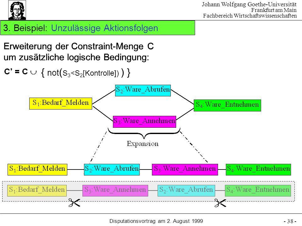 Johann Wolfgang Goethe-Universität Frankfurt am Main Fachbereich Wirtschaftswissenschaften Disputationsvortrag am 2. August 1999 - 38 - 3. Beispiel: U