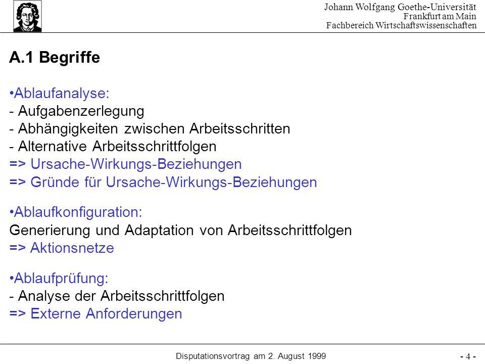 Johann Wolfgang Goethe-Universität Frankfurt am Main Fachbereich Wirtschaftswissenschaften Disputationsvortrag am 2. August 1999 - 4 - Ablaufanalyse: