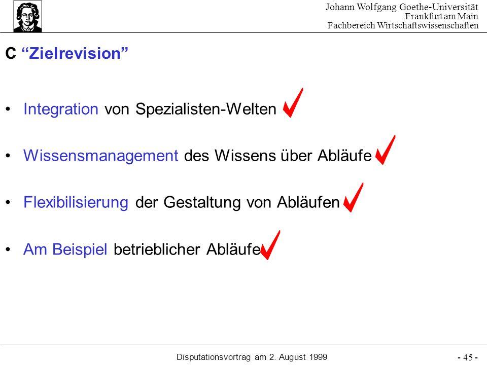 Johann Wolfgang Goethe-Universität Frankfurt am Main Fachbereich Wirtschaftswissenschaften Disputationsvortrag am 2. August 1999 - 45 - C Zielrevision