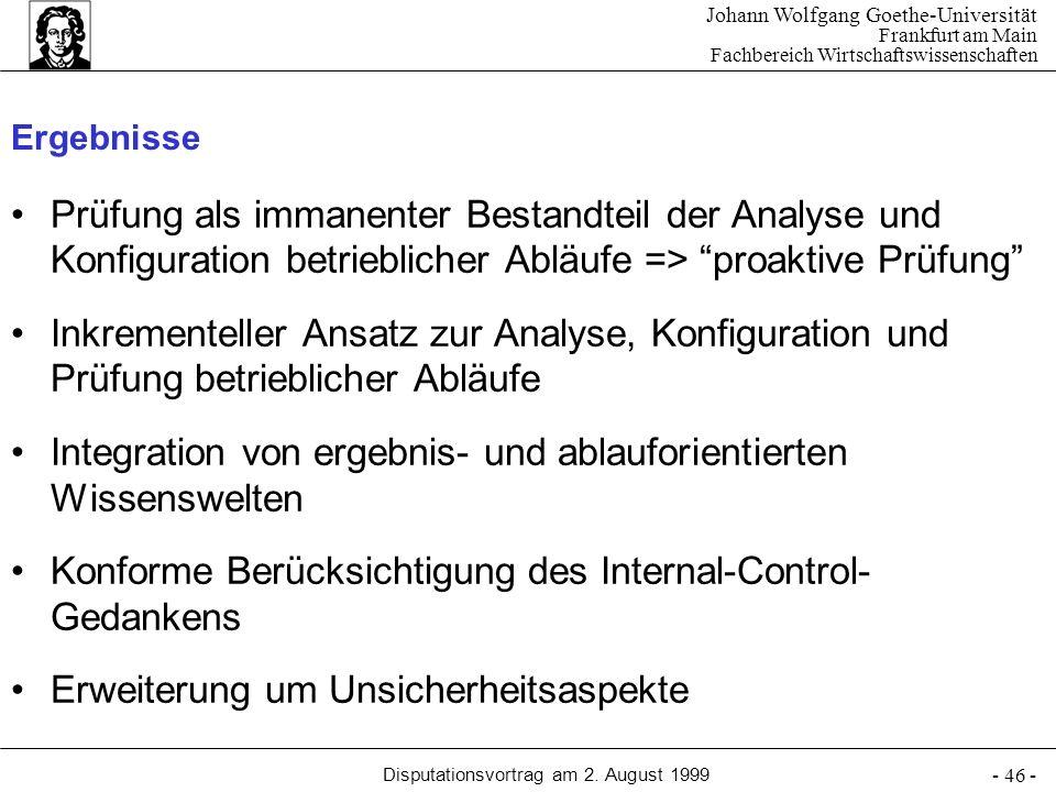 Johann Wolfgang Goethe-Universität Frankfurt am Main Fachbereich Wirtschaftswissenschaften Disputationsvortrag am 2. August 1999 - 46 - Ergebnisse Prü