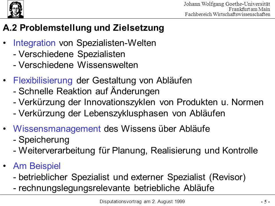 Johann Wolfgang Goethe-Universität Frankfurt am Main Fachbereich Wirtschaftswissenschaften Disputationsvortrag am 2. August 1999 - 5 - A.2 Problemstel