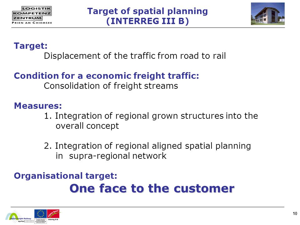 10 Target: Displacement of the traffic from road to rail Condition for a economic freight traffic: Consolidation of freight streams Measures: 1. Integ