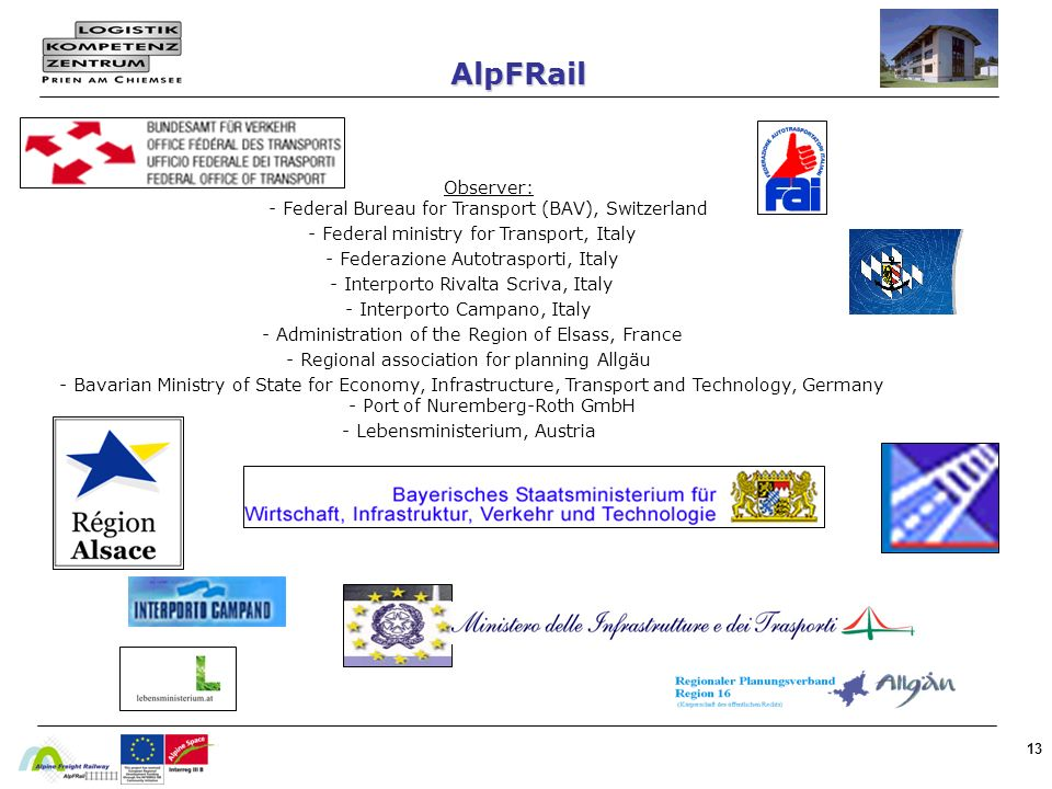 13 AlpFRail Observer: - Federal Bureau for Transport (BAV), Switzerland - Federal ministry for Transport, Italy - Federazione Autotrasporti, Italy - I