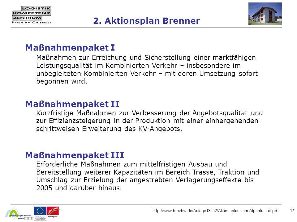 17http://www.bmvbw.de/Anlage13252/Aktionsplan-zum-Alpentransit.pdf 2. Aktionsplan Brenner Maßnahmenpaket I Maßnahmen zur Erreichung und Sicherstellung