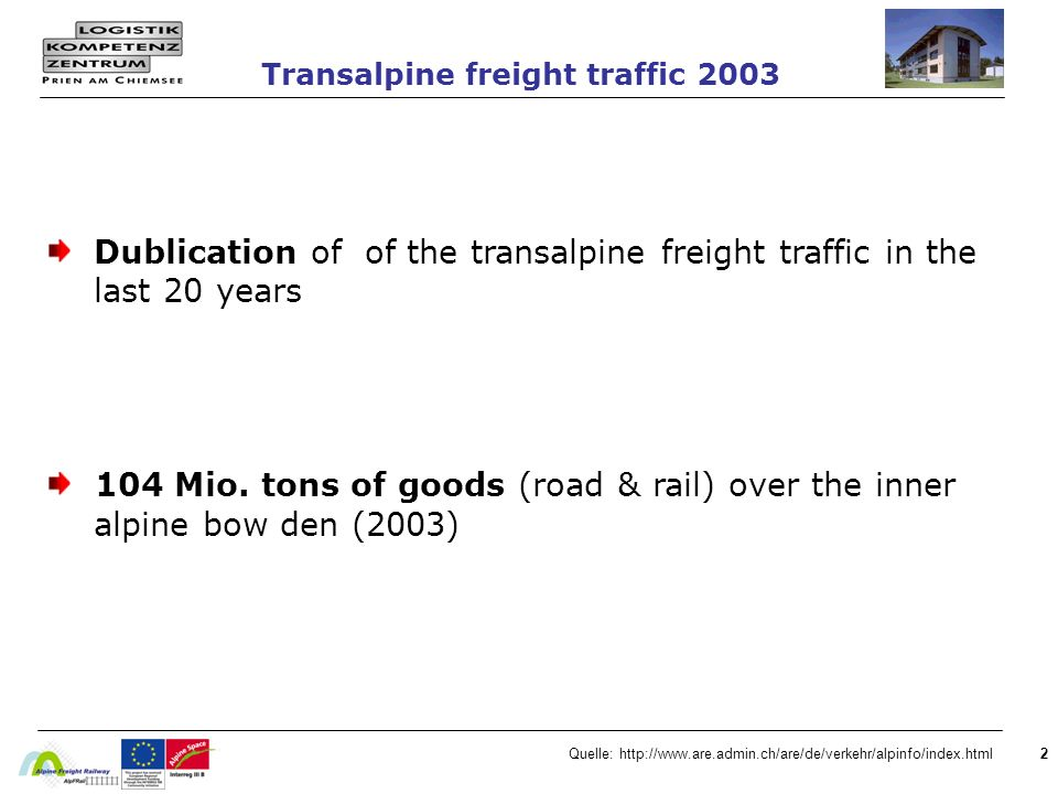 2 Dublication of of the transalpine freight traffic in the last 20 years 104 Mio. tons of goods (road & rail) over the inner alpine bow den (2003) Tra