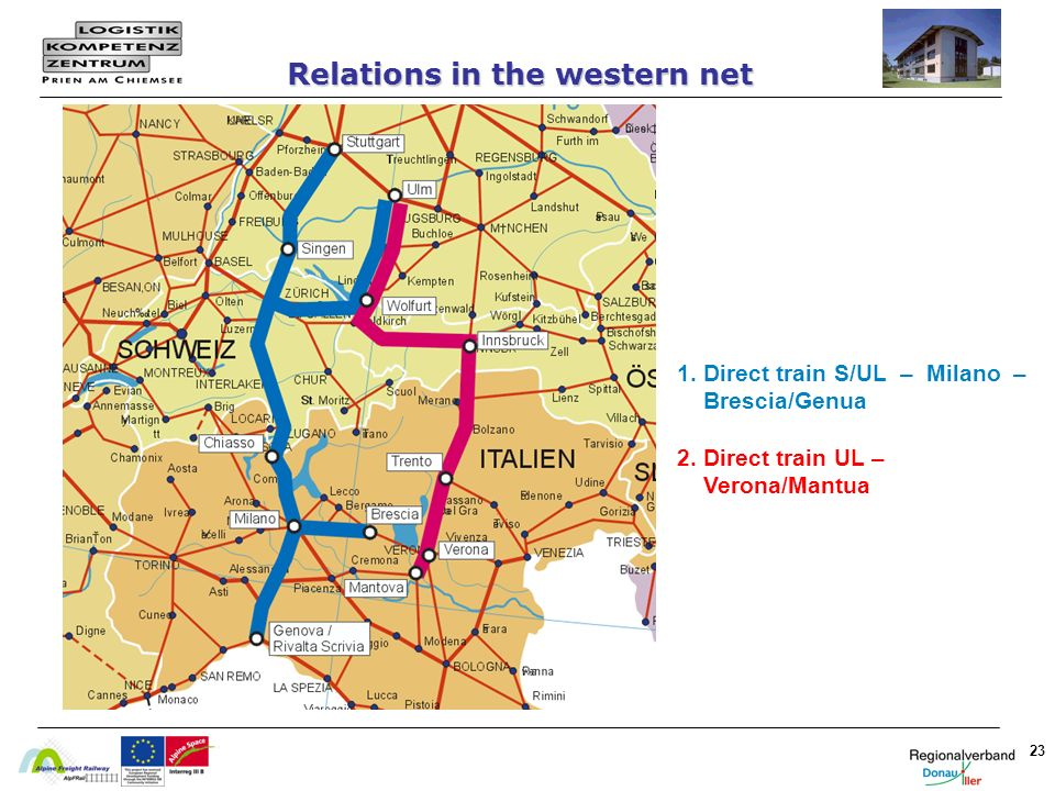 23 Relations in the western net 1. Direct train S/UL – Milano – Brescia/Genua 2. Direct train UL – Verona/Mantua