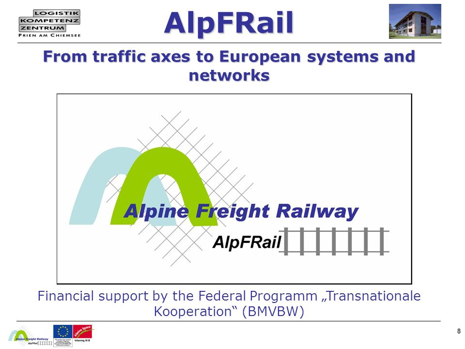 8 AlpFRail From traffic axes to European systems and networks Financial support by the Federal Programm Transnationale Kooperation (BMVBW)