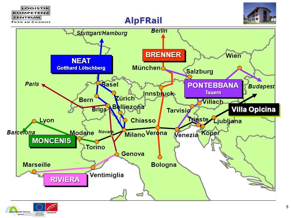9 NEAT Gotthard Lötschberg NEAT MONCENISMONCENIS RIVIERARIVIERA PONTEBBANATauernPONTEBBANATauern Stuttgart/Hamburg Basel Bern Bellinzona Chiasso Lyon