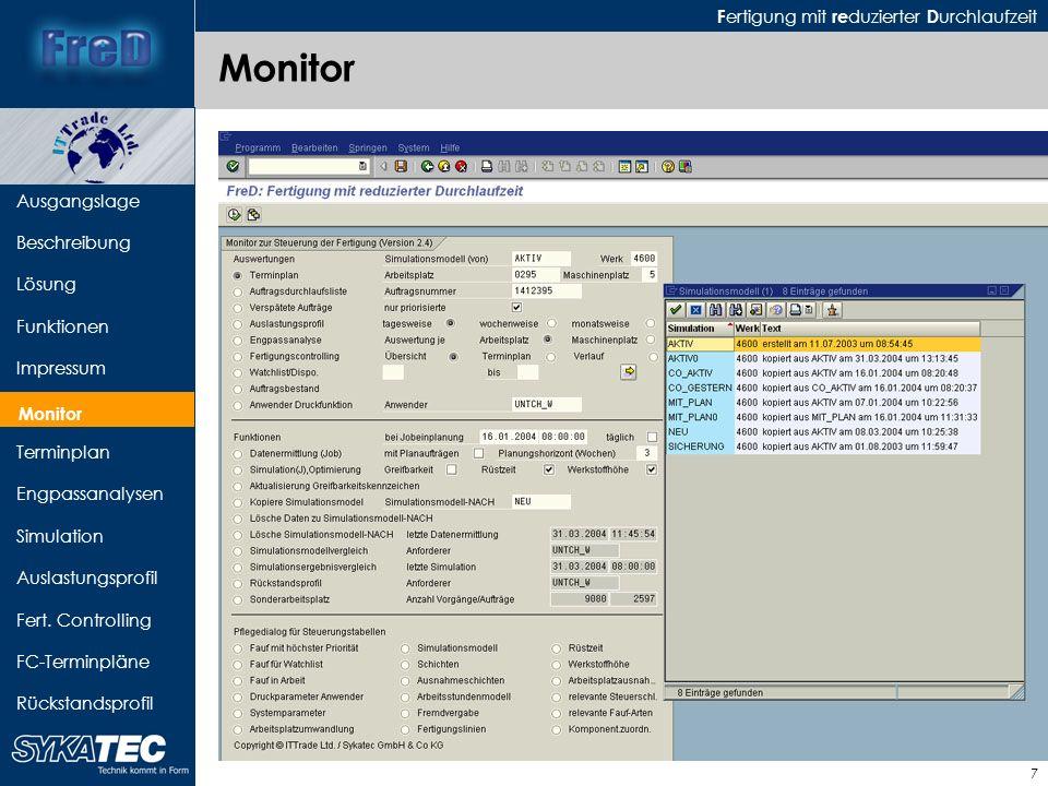 F ertigung mit re duzierter D urchlaufzeit 8 Ausgangslage Beschreibung Lösung Funktionen Impressum Monitor Terminplan Engpassanalysen Simulation Auslastungsprofil Fert.