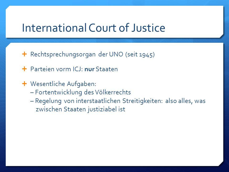 International Criminal Court Crime of Genocide Crime against Humanity War Crimes Crime of Aggression (frühestens ab 2017)