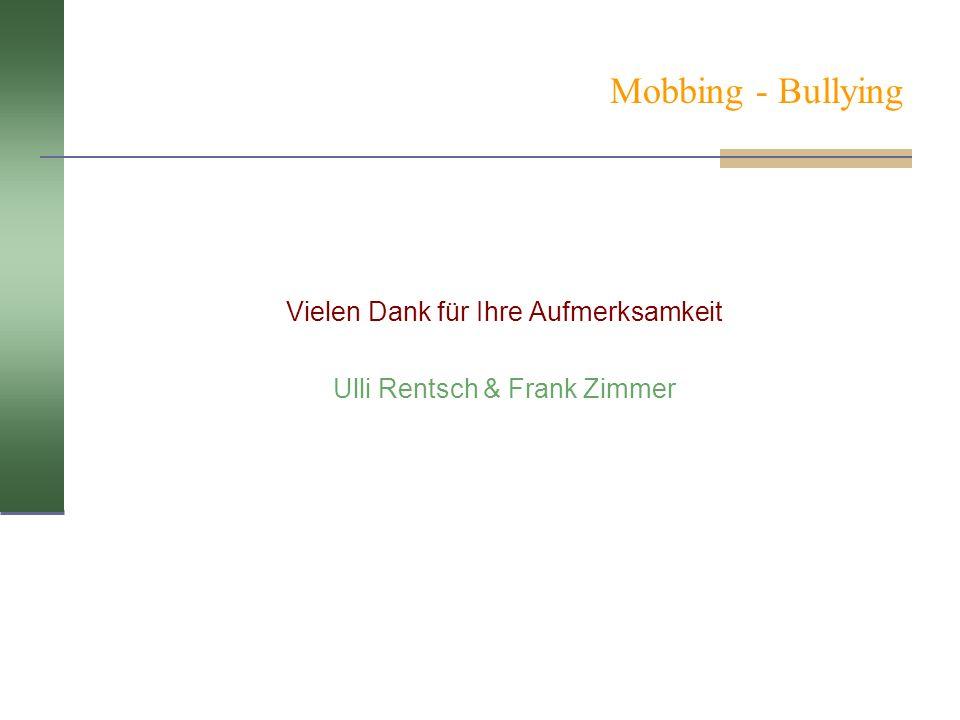 Mobbing - Bullying Vielen Dank für Ihre Aufmerksamkeit Ulli Rentsch & Frank Zimmer