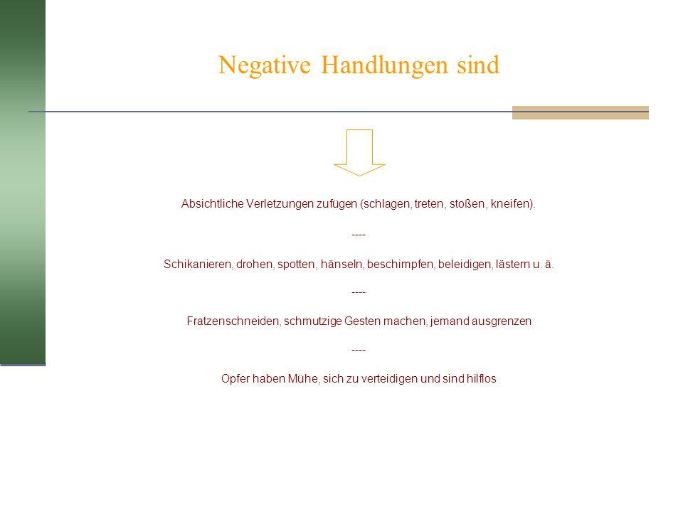 Negative Handlungen sind Absichtliche Verletzungen zufügen (schlagen, treten, stoßen, kneifen). ---- Schikanieren, drohen, spotten, hänseln, beschimpf