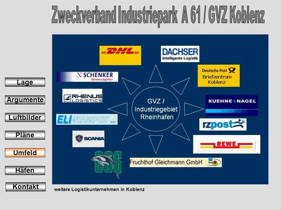 weitere Logistikunternehmen in Koblenz Lage Argumente Luftbilder Pläne Umfeld Häfen Kontakt