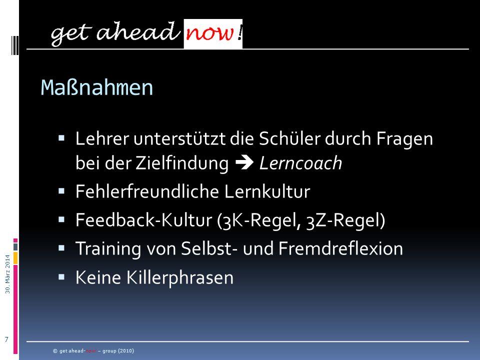 30.März 2014 8 © get ahead-now. – group (2010) Wo findet das Lernen statt.