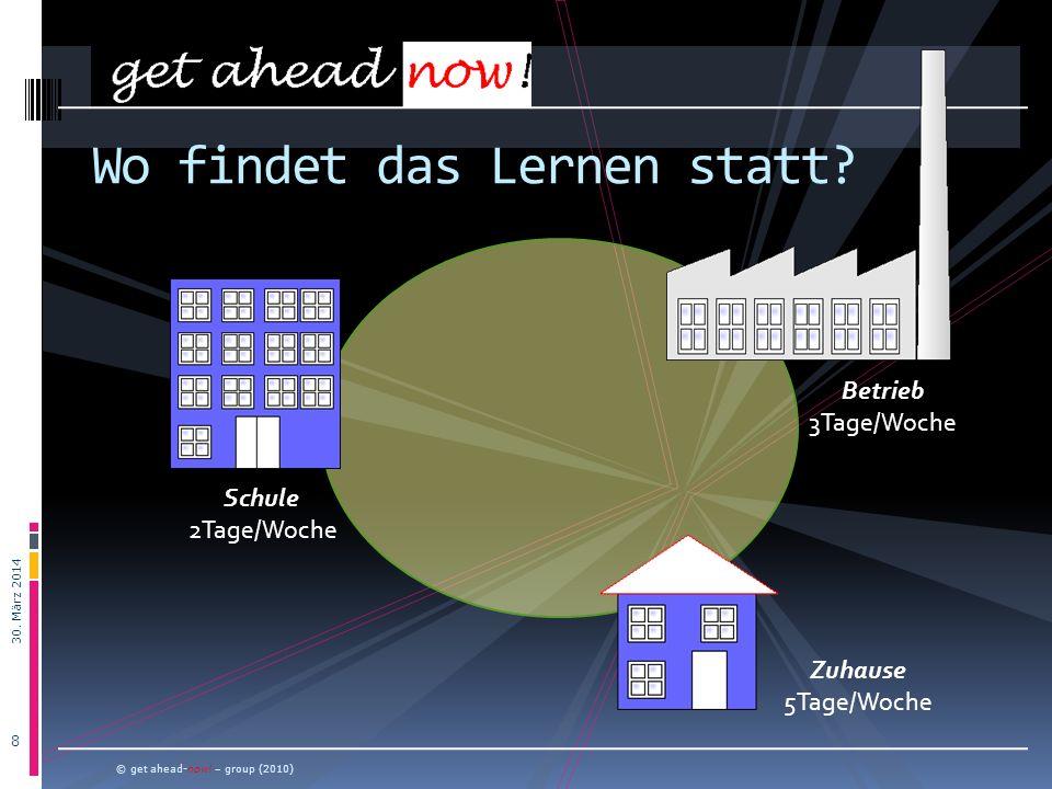 30. März 2014 8 © get ahead-now! – group (2010) Wo findet das Lernen statt? Schule 2Tage/Woche Betrieb 3Tage/Woche Zuhause 5Tage/Woche