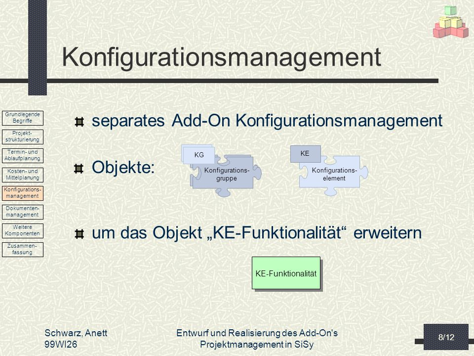 Schwarz, Anett 99WI26 Entwurf und Realisierung des Add-On's Projektmanagement in SiSy 8/12 Konfigurationsmanagement separates Add-On Konfigurationsman