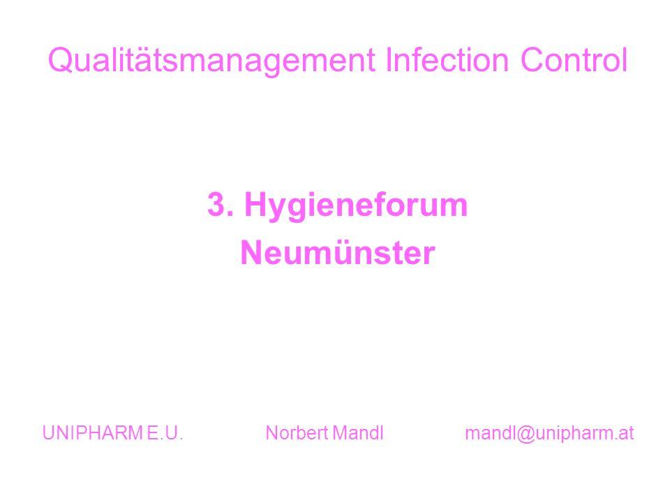 Qualitätsmanagement Infection Control 3. Hygieneforum Neumünster UNIPHARM E.U. Norbert Mandl mandl@unipharm.at