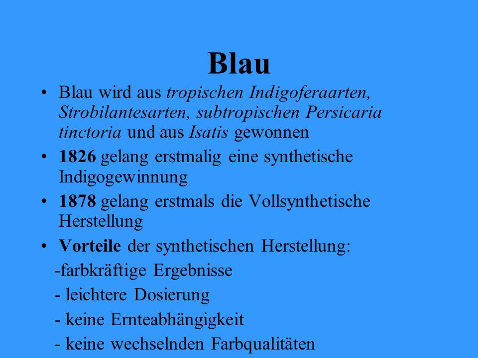Blau Blau wird aus tropischen Indigoferaarten, Strobilantesarten, subtropischen Persicaria tinctoria und aus Isatis gewonnen 1826 gelang erstmalig ein