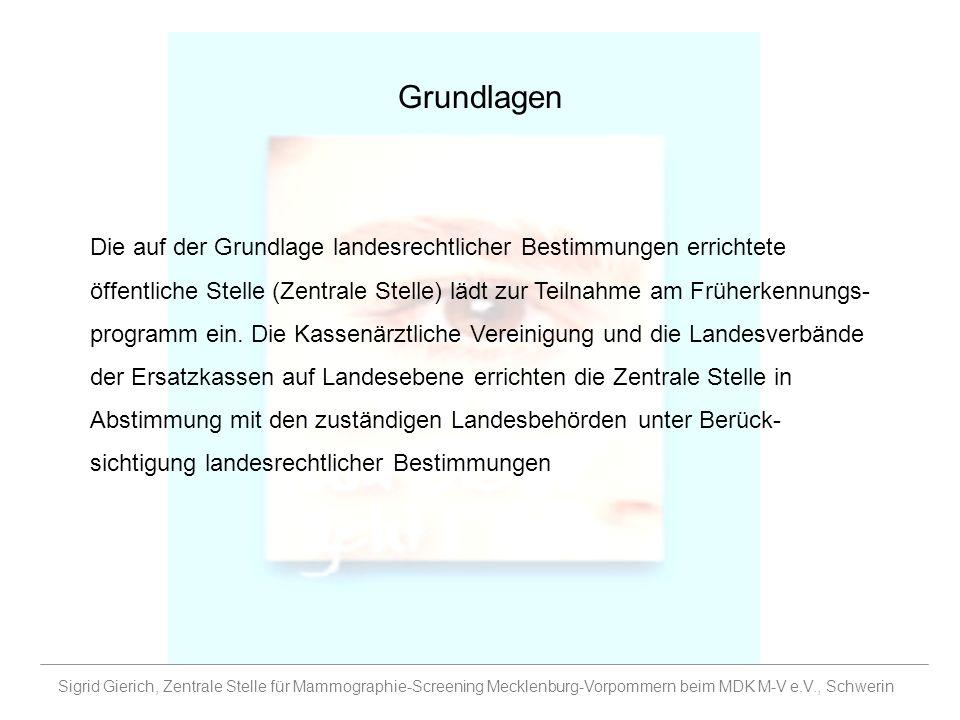 Grundlagen Sigrid Gierich, Zentrale Stelle für Mammographie-Screening Mecklenburg-Vorpommern beim MDK M-V e.V., Schwerin Die auf der Grundlage landesr