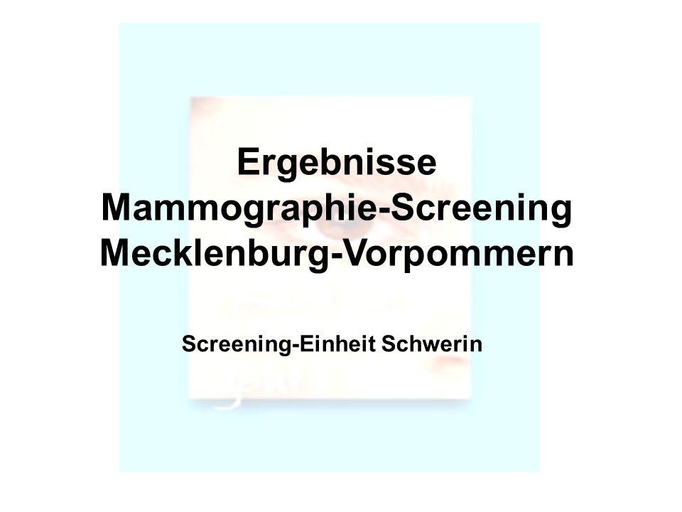 Ergebnisse Mammographie-Screening Mecklenburg-Vorpommern Screening-Einheit Schwerin
