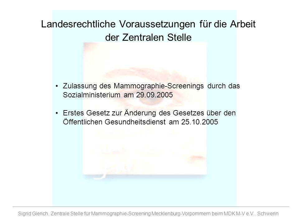 Landesrechtliche Voraussetzungen für die Arbeit der Zentralen Stelle Zulassung des Mammographie-Screenings durch das Sozialministerium am 29.09.2005 E