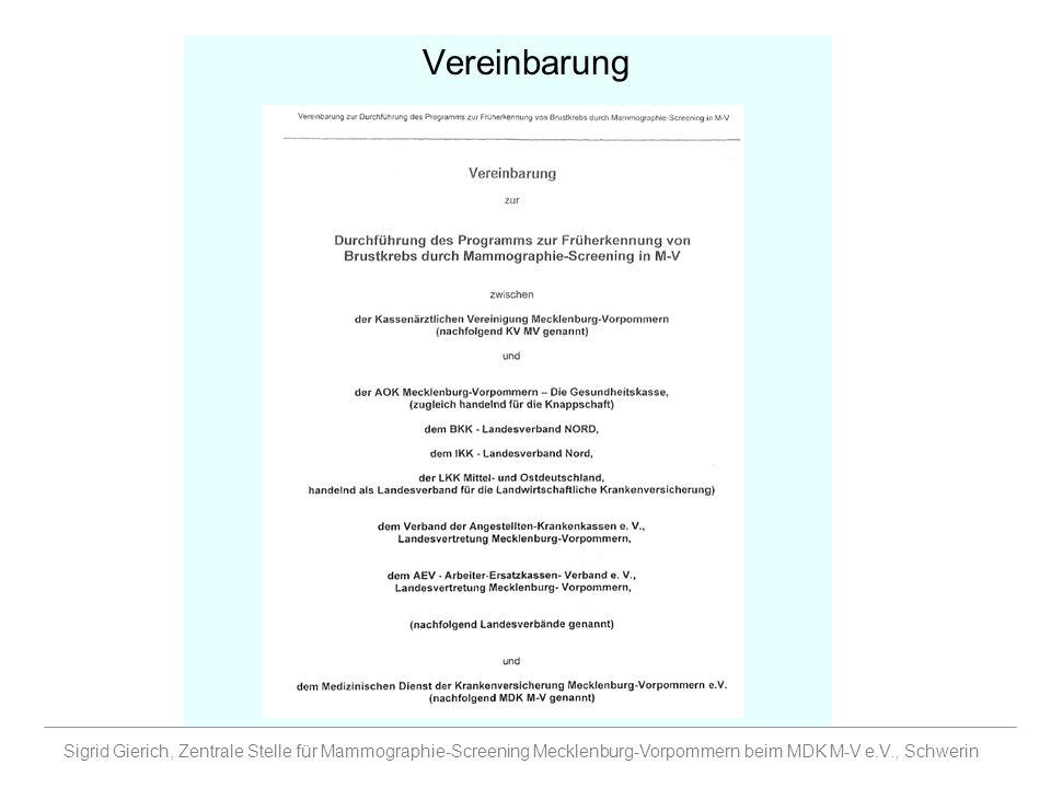 Vereinbarung Sigrid Gierich, Zentrale Stelle für Mammographie-Screening Mecklenburg-Vorpommern beim MDK M-V e.V., Schwerin