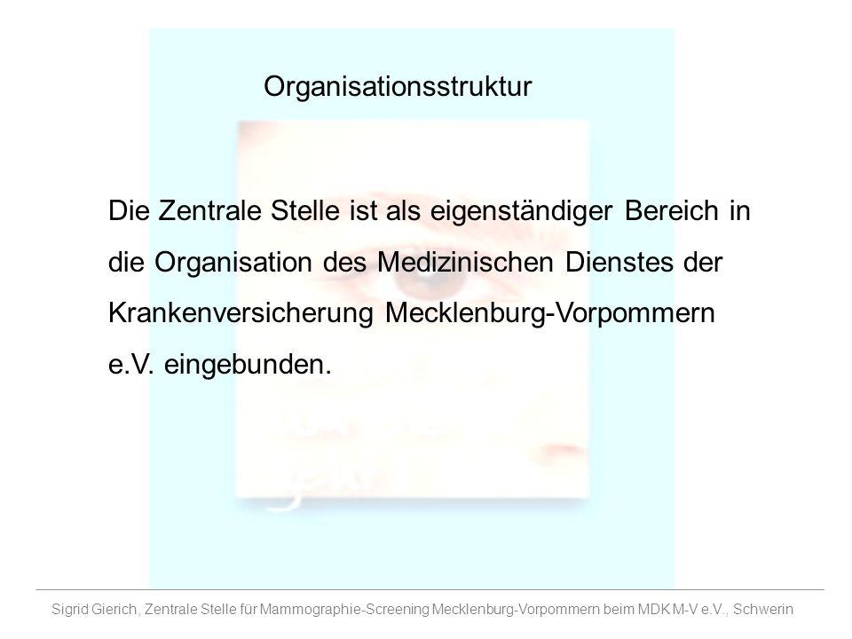 Organisationsstruktur Die Zentrale Stelle ist als eigenständiger Bereich in die Organisation des Medizinischen Dienstes der Krankenversicherung Meckle