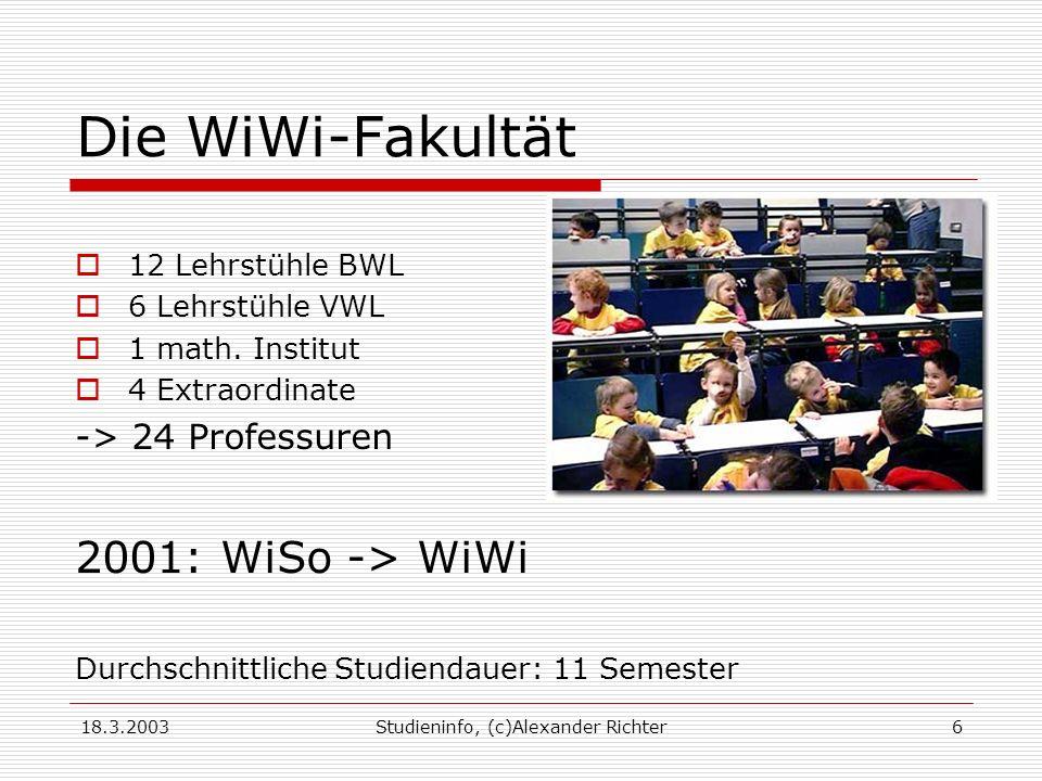 18.3.2003Studieninfo, (c)Alexander Richter6 Die WiWi-Fakultät 12 Lehrstühle BWL 6 Lehrstühle VWL 1 math.