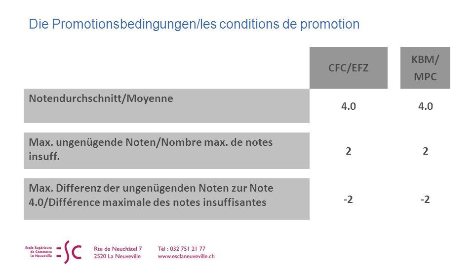 Die Promotionsbedingungen/les conditions de promotion CFC/EFZ KBM/ MPC Notendurchschnitt/Moyenne 4.0 Max.