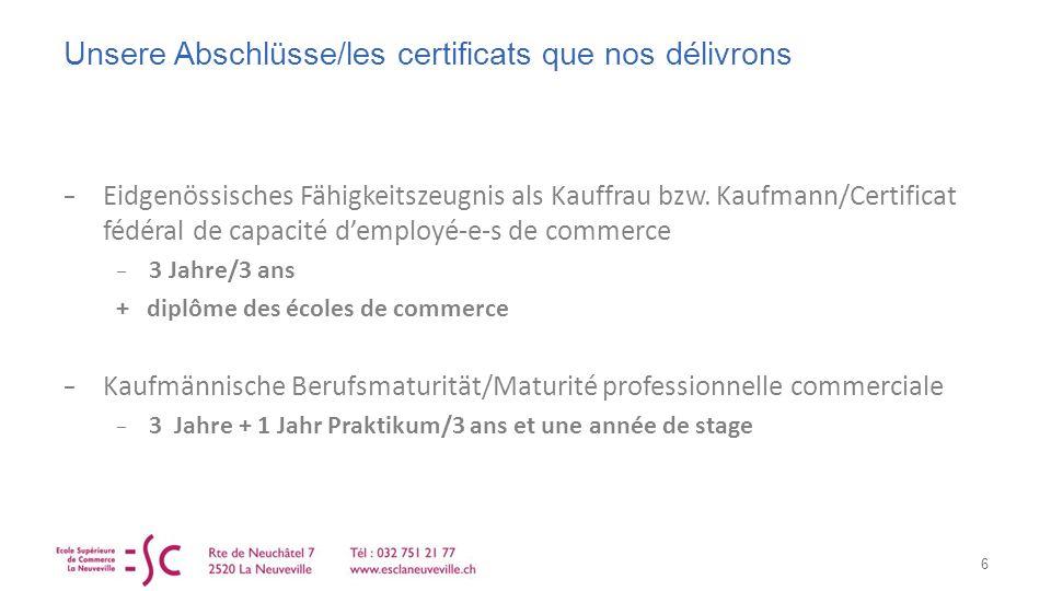 Unsere Abschlüsse/les certificats que nos délivrons Eidgenössisches Fähigkeitszeugnis als Kauffrau bzw.