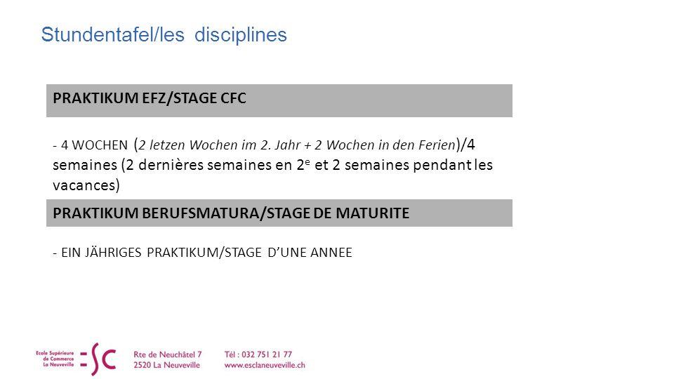 Stundentafel/les disciplines PRAKTIKUM EFZ/STAGE CFC - 4 WOCHEN ( 2 letzen Wochen im 2.