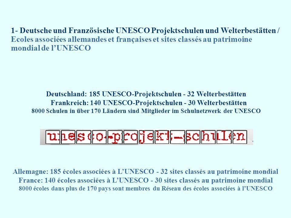 Deutsche und Französische Geographie des UNESCO-Netzwerkes / Géographie allemande et française du Réseau UNESCO UNESCO Welterbe / Patrimoine mondial UNESCO Biosphärereservat / Réserve de biosphère UNESCO Projektschule / Ecole associée