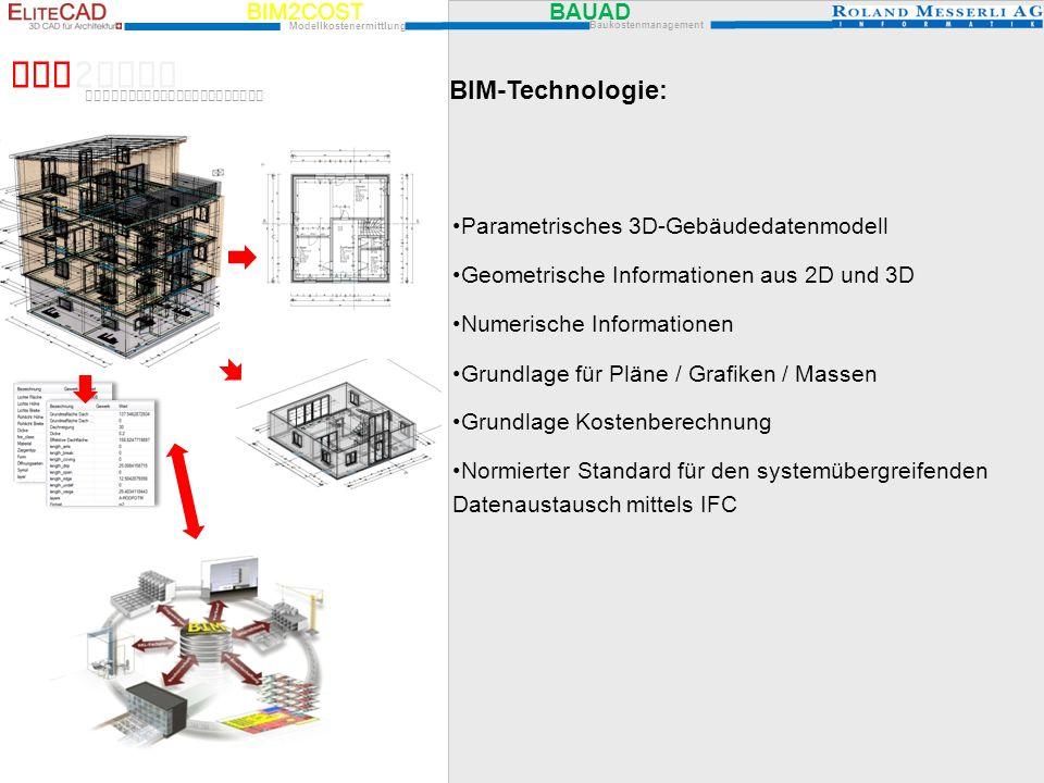 BIM2COST BAUAD Modellkostenermittlung Baukostenmanagement BIM 2 COST Modellkostenermittlung BIM-Technologie: Parametrisches 3D-Gebäudedatenmodell Geom