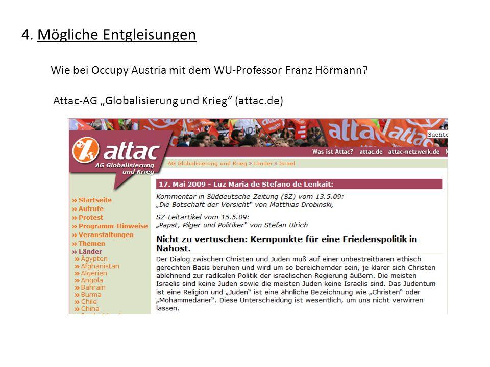 4.Mögliche Entgleisungen Wie bei Occupy Austria mit dem WU-Professor Franz Hörmann.