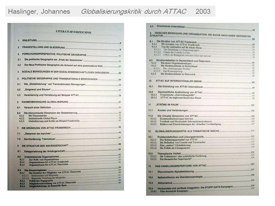 Haslinger, JohannesGlobalisierungskritik durch ATTAC2003