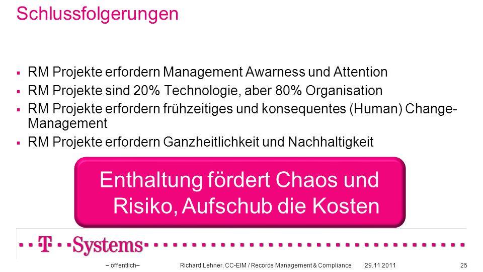 Schlussfolgerungen RM Projekte erfordern Management Awarness und Attention RM Projekte sind 20% Technologie, aber 80% Organisation RM Projekte erforde