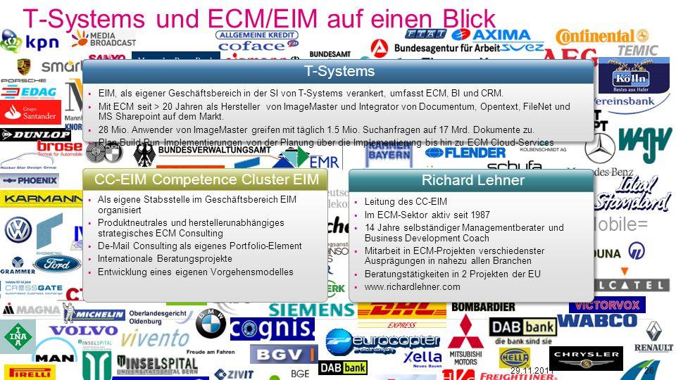 T-Systems und ECM/EIM auf einen Blick 29.11.201126