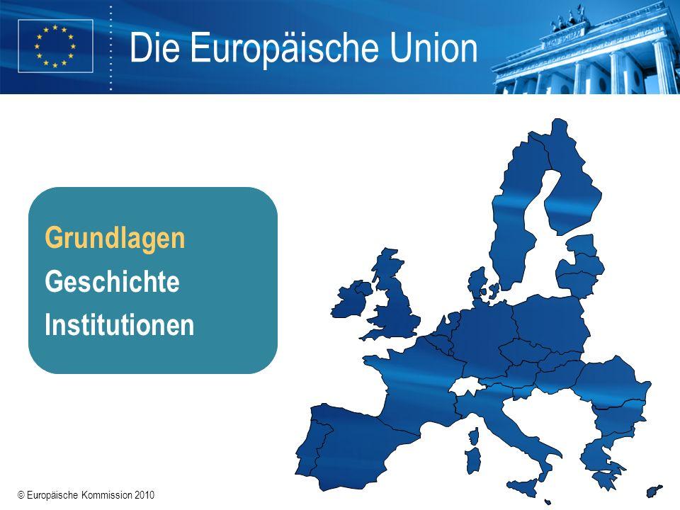 © Europäische Kommission 2010 Schritte der Integration Vertrag von Lissabon 2007 (2009) Vertrag von Nizza 2001 (2003) Vertrag von Amsterdam 1997 (1999) Vertrag von Maastricht 1992 (1993) Einheitliche Europäische Akte 1986 (1987) Römische Verträge 1957 Europäische Gemeinschaft für Kohle und Stahl 1951 (in Kraft 1952) Schuman-Plan 1950