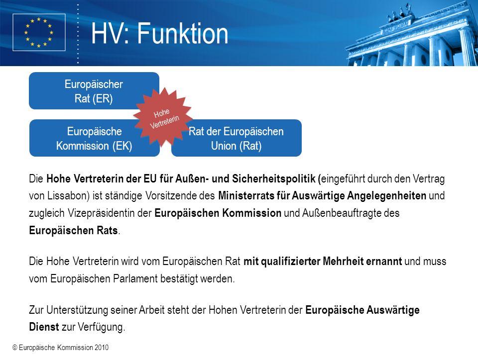 © Europäische Kommission 2010 HV: Funktion Die Hohe Vertreterin der EU für Außen- und Sicherheitspolitik ( eingeführt durch den Vertrag von Lissabon)