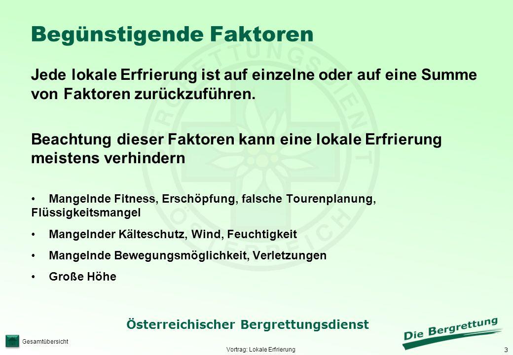 3 Österreichischer Bergrettungsdienst Gesamtübersicht Begünstigende Faktoren Jede lokale Erfrierung ist auf einzelne oder auf eine Summe von Faktoren