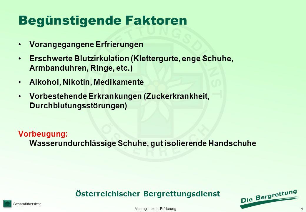 5 Österreichischer Bergrettungsdienst Gesamtübersicht Zeichen und Symptome 1.Fahle blasse Haut mit Taubheitsgefühl 2.Zunehmender Verlust der Sensibilität ohne Schmerzen Vortrag: Lokale Erfrierung