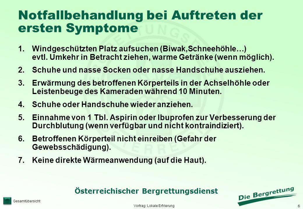6 Österreichischer Bergrettungsdienst Gesamtübersicht Notfallbehandlung bei Auftreten der ersten Symptome 1.Windgeschützten Platz aufsuchen (Biwak,Sch